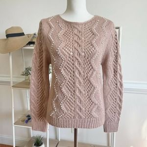 Aqua Embellished Cable Knit Sweater In Blush New